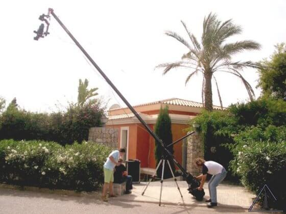 Fernseh-Kran bei Dreharbeiten auf Mallorca
